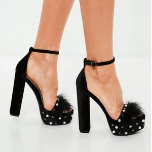 Missguided Black feather Velvet Heels with pearls